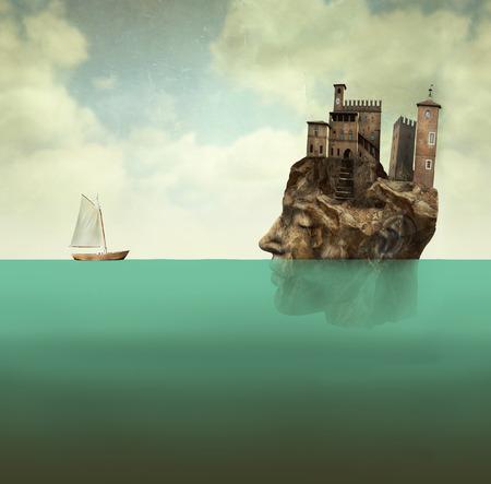 頭、古代の塔と石の男のプロフィールの顔、小さなヨットで海の上に村を表す芸術的なシュールなイラスト 写真素材