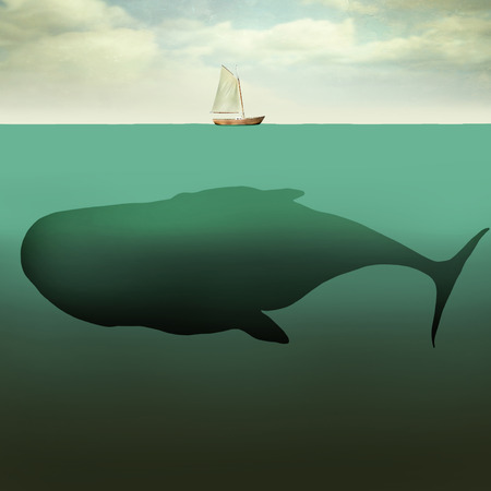 Surreal illustration of little sailboat in the middle of the ocean with the sea depth and a giant whale beneath it Stock Photo