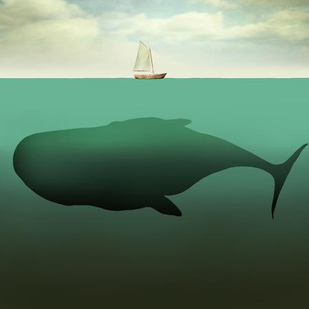 Surreal illustratie van kleine zeilboot in het midden van de oceaan met de zee diepte en een gigantische walvis eronder