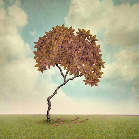 plat: Illustrative artistic tree in Autumn