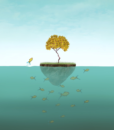 Surreal illustration of a little island with a tree and many fishes underwater and one of them jump out Stock Photo