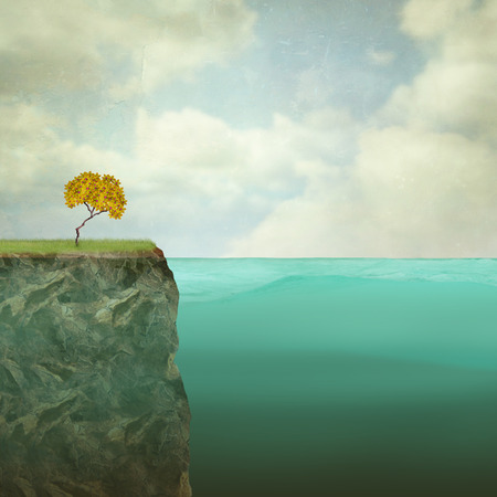 atop: Surreal illustration of a small tree perched atop the offshore rock Stock Photo