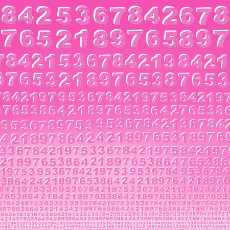 modernity: Background of numbers in a row decorated with lines from the largest to the smallest color fuchsia shade