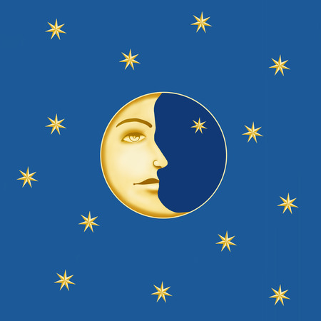 waning moon: Illustration of the half moon with the profile face and many stars on blue background