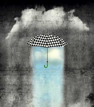lightness: A surreal image of an umbrella checkered black and white.