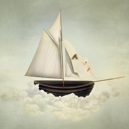 Surreal vat boven de wolken met volle zeilen en varen met een vrouwelijk gezicht