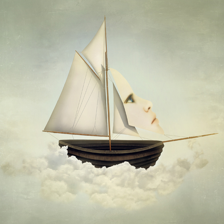fantasize: Surreal vessel above the clouds with full sail and a sail with a female face
