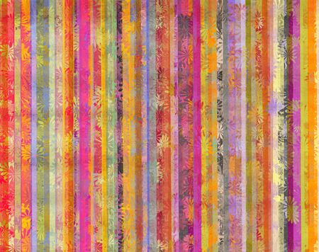vertical lines: Colorful background and dirty vertical lines with overlapping stylized flowers