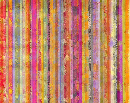 lineas verticales: fondo de colores y líneas verticales sucias con la superposición de flores estilizadas Foto de archivo