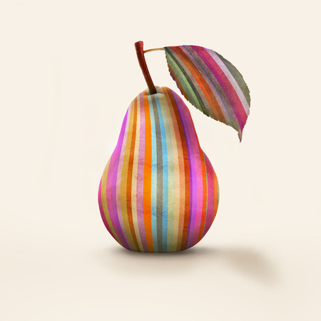 oddity: A pear colored in vertical stripes isolated Stock Photo