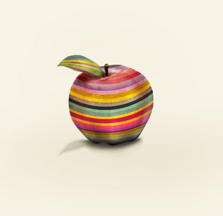oddity: An apple colored in horizontal stripes isolated Stock Photo