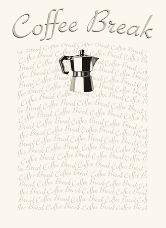 coffee pot: Artistic background representing a drawing of an Italian Coffee Pot with the words Coffee Break Stock Photo