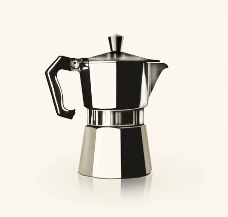 coffee pot: Artistic image representing a drawing of an Italian Coffee Pot