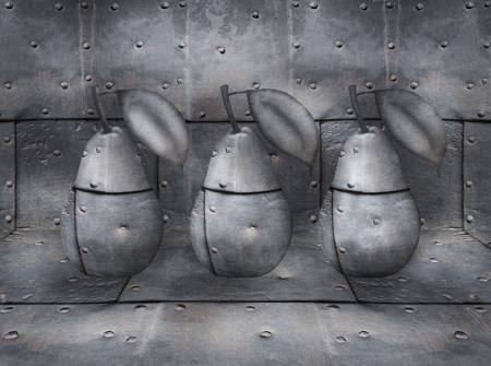 oddity: Three pears metal with bolts with background and flooring always in the same material