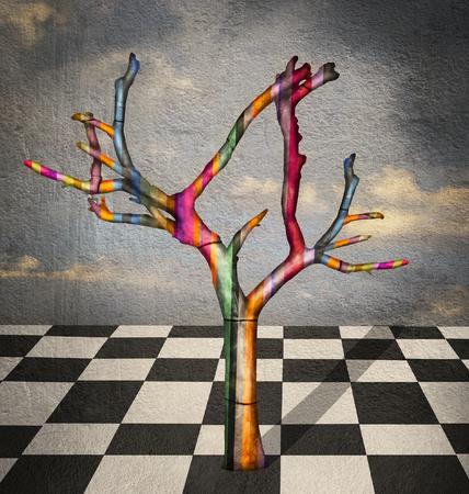 psique: Surrealista imagen que representa un árbol de rayas de colores en un paisaje con suelo a cuadros en el cielo blanco y negro y una hermosa en el fondo
