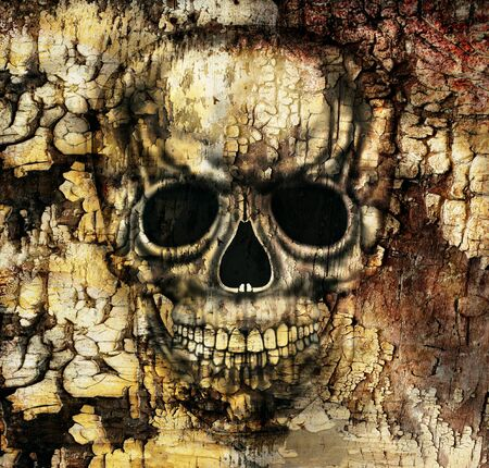 illustrative material: Gothic image of a human skull Stock Photo