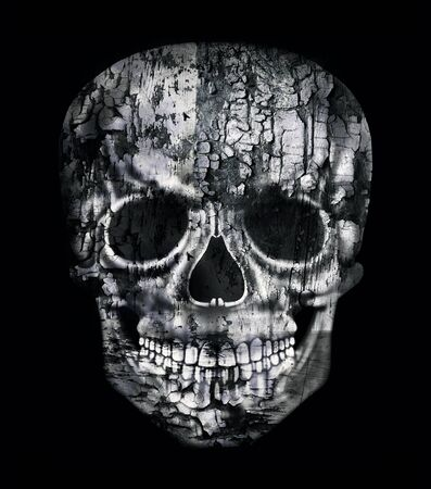 illustrative material: Gothic image of a human skull in black and white isolated on black background