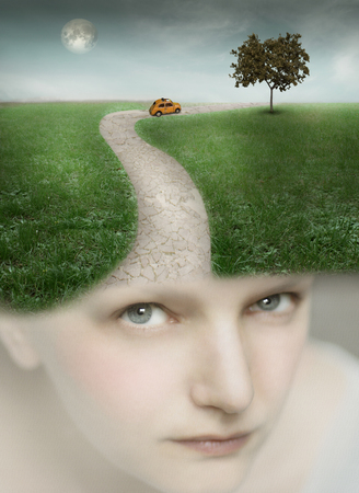 Artistic portrait of a girl with a fantasy landscape on her head