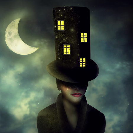 Surrealist image representing a portrait of a woman character with a high cylinder with windows in a night sky with half moon Zdjęcie Seryjne