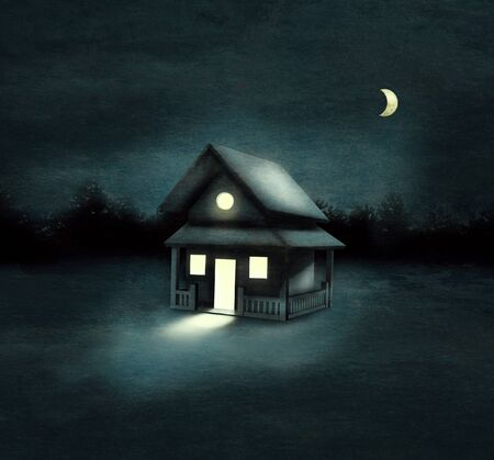 suspenso: Beautiful image representing an isolated house in a forest at night
