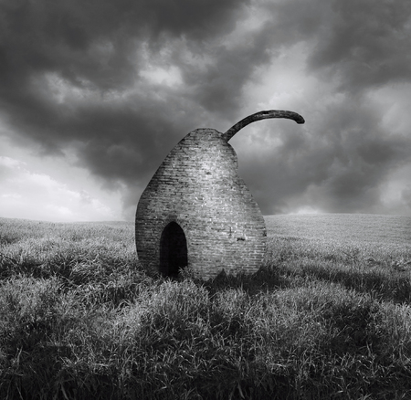 Elegant black and white surreal image representing a brick pearl isolated in a countryside landscape
