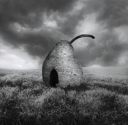 Elegant zwart-wit surreal beeld dat een steenparel uitmaakt die in een plattelandslandschap wordt geïsoleerd
