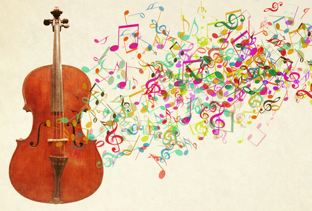 A Cello instrument in a colorful notes on the background