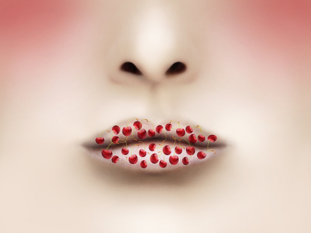 Beautiful lips with many cherries photo