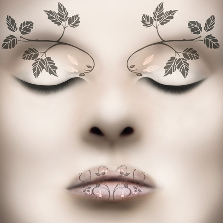 Beautiful classy female face with liberty leaves as make up on her lips and on eyebrow arch 免版税图像