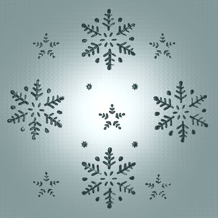 Snowflakes and Stars in an elegant Christmas Background 3D