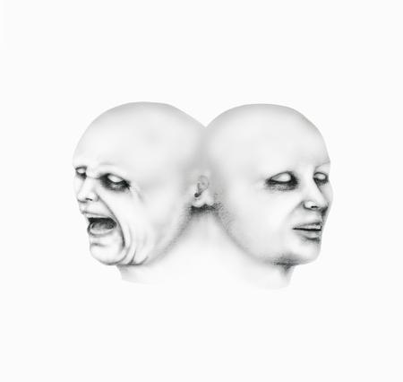 白地黒の鉛筆で、自分の顔に別の表現をもつ男性の 2 つの面を表すシュールな図面の画像