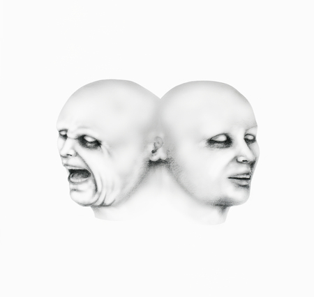 그들의 얼굴에 다른 식으로 남자의 두 얼굴을 나타내는 초현실적 인 그림의 그림, 화이트 검정 연필 스톡 콘텐츠