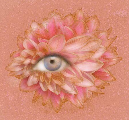 Illustratief beeld van een menselijk oog met veel bloembladen en texturen Stockfoto - 89460118
