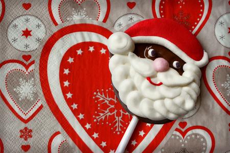 Christmas trick representing the face of Santa Claus 免版税图像