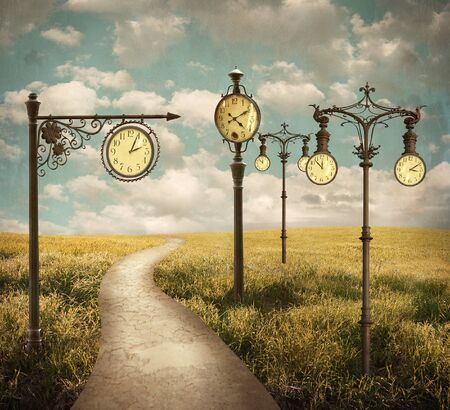 Beautiful surreal landscape with different clocks  免版税图像