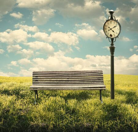 Beautiful exterior image representing a landscape with a bench and a clock