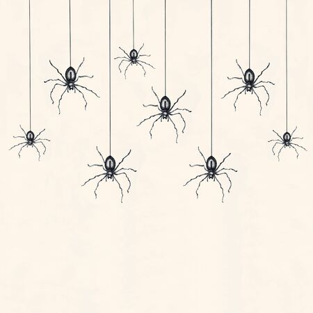 Illustration of many black spiders drawn in black and white isolated on light yellow background