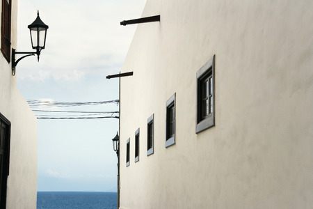 Beautiful architectural glimpse with the ocean in the background in Garachico, Tenerife, Canary Islands