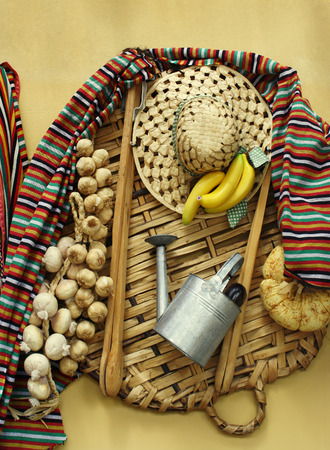 Folkloristic composition of objects and food used by farmers in the Canary Islands