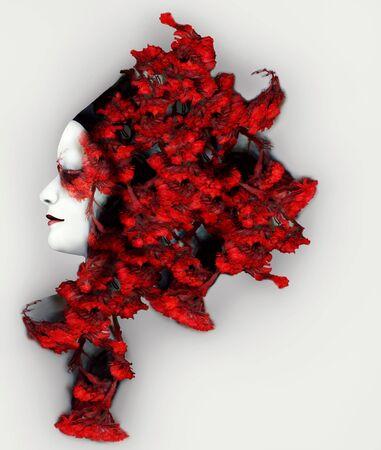 Beautiful female profile with an extravagant vivid red color headdress