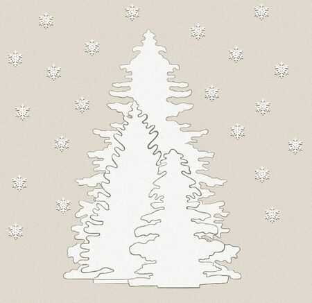 3D illustration of three trees covered with snow with snowflakes in oil painting effect