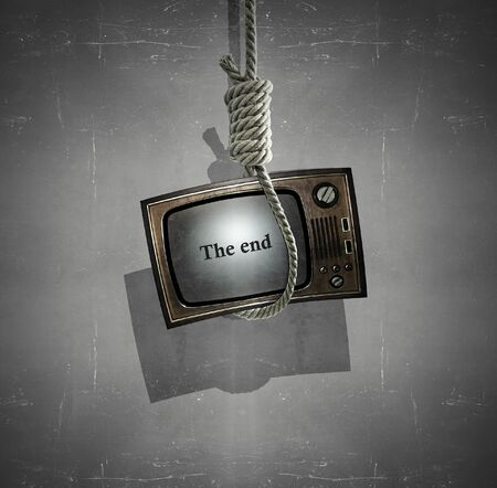 Beautiful and unique surrealist and conceptual image of an old hanged television 免版税图像