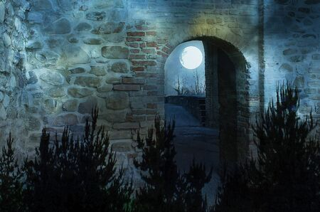 Beautiful filtered photo of an ancient glimpse of a narrow street with arch at night with the moon