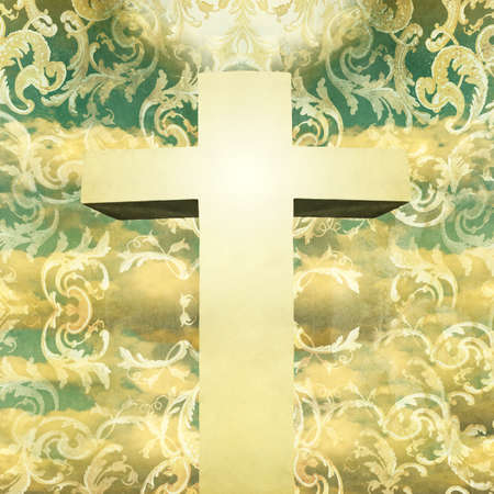 Artistic Crucifix in vintage collage baroque style on a background with the sky and baroque decoration