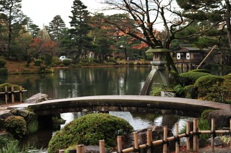 circumference: Kenrokuen Garden and Circumference of Kanazawa Castle Park Stock Photo