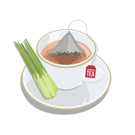 Cup of tea bag with LEMONGRASS vector Illustration