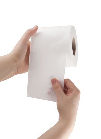 woman in towel: Hand touching toilet paper  Stock Photo