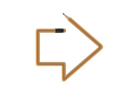 back arrow: Arrow made of pencil with clipping path  Stock Photo