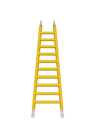 carreer: Ladder made of pencils with clipping path