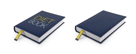 made to measure: Book with bookmark made of tape measure (Clipping path) Stock Photo